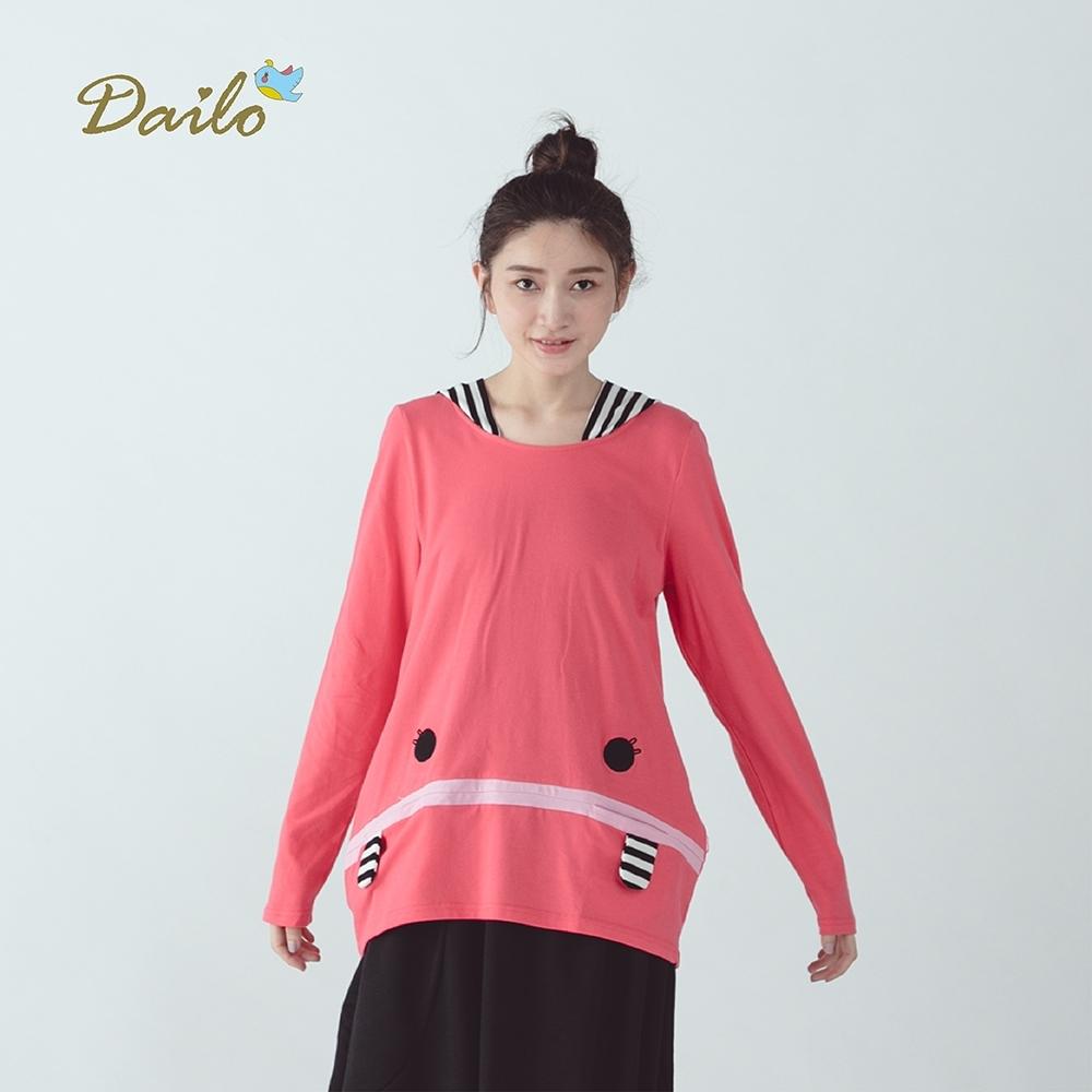 【Dailo】大嘴兄造型條紋-上衣(四色)