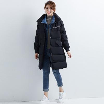 2F韓衣-韓系中大碼立領雙口袋大衣-秒