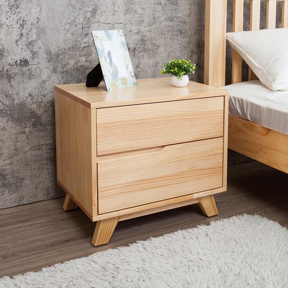 Boden-森林家具 里約1.8尺實木床頭櫃/二抽收納櫃/置物櫃-54x42x51cm