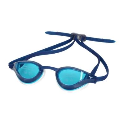 MIZUNO 泳鏡-台灣製 抗UV 防霧 蛙鏡 游泳 訓練 美津濃 N3TE951000-82 藍白