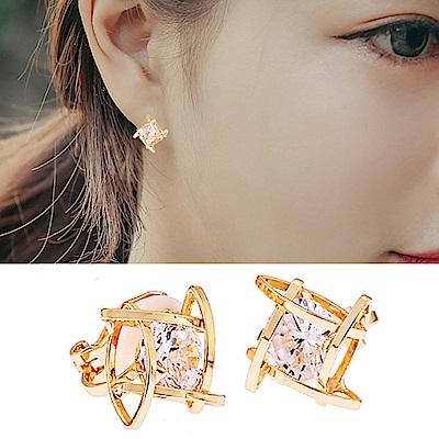 梨花HaNA  無耳洞韓國鏤空方型鑽石耳環夾式