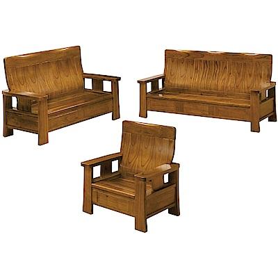綠活居 米瑟典雅風實木沙發椅組合(1+2+3人座)