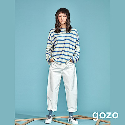 gozo 手繪品牌logo印花寬版直筒褲(二色)