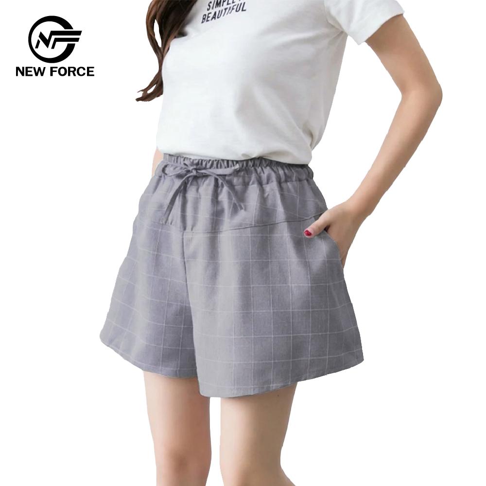 NEW FORCE 時尚休閒寬腿顯瘦格子褲子-深灰 @ Y!購物