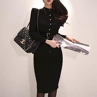 DABI 韓系單排扣針織收腰包臀長袖洋裝