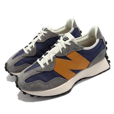 New Balance 休閒鞋 327 N字鞋 穿搭款 女鞋 紐巴倫 麂皮 皮革 膠底 大N 街頭流行 藍 灰 WS327WR1-B