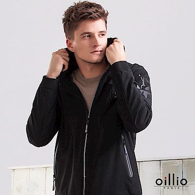 歐洲貴族 oillio 連帽外套 圖案印花 盾牌圖標 黑色
