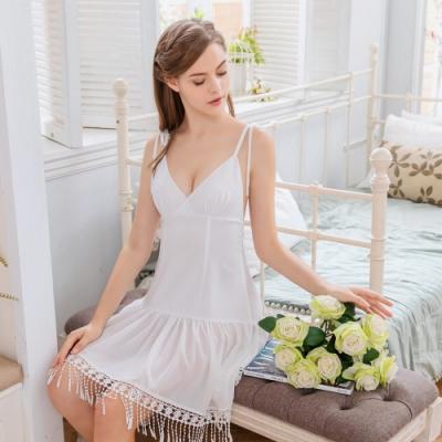 Naya Nina 雪紡民族風流蘇蕾絲綁帶連身洋裝睡裙-白F
