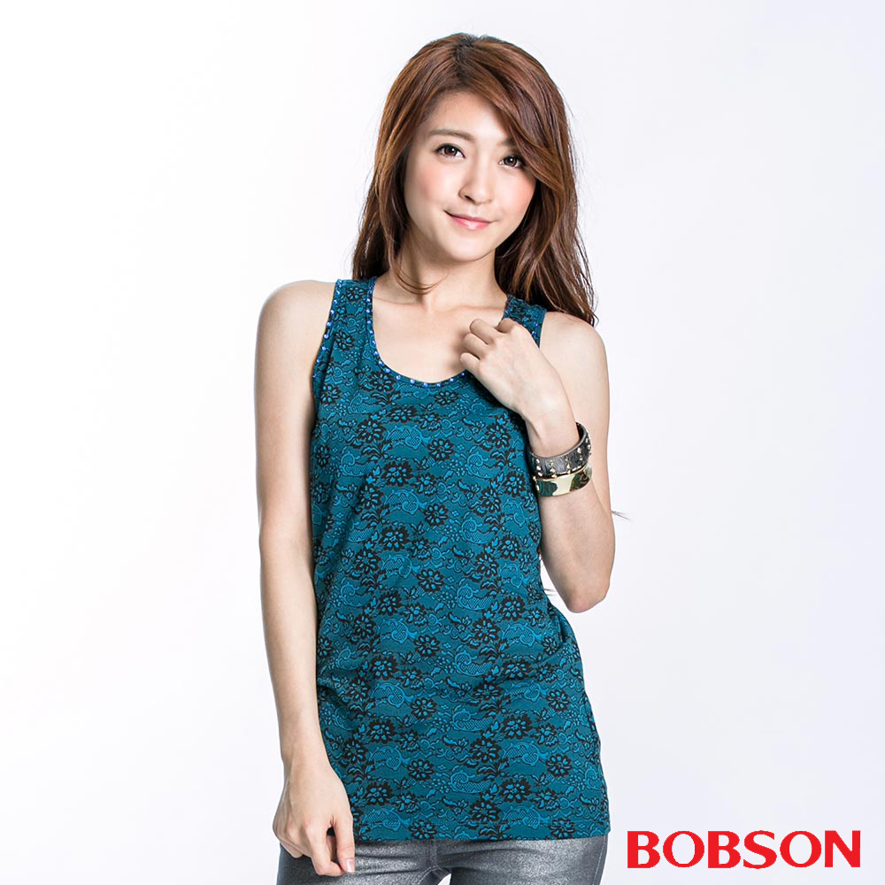 BOBSON 女款蕾絲花紋印圖背心(藍綠23074-02)