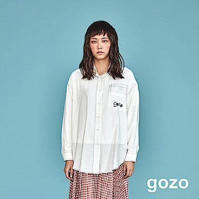 gozo 極簡品牌logo繡線素面襯衫(二色)