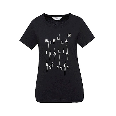 FILA 女款短袖圓領T恤-黑色 5TET-1521-BK