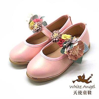 天使童鞋 花漾小花園公主鞋(中-大童) J8006-粉