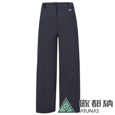 【ATUNAS 歐都納】女款SOFTSHELL刷毛保暖寬長褲A1PA1908W黑