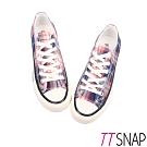 TTSNAP帆布鞋-英倫格紋綁帶厚底增高平底鞋 藍