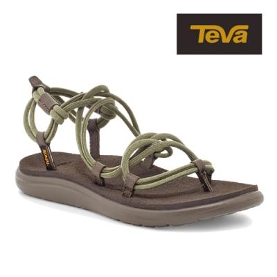 【TEVA】原廠貨 女 Voya Infinity Space Dye 羅馬寬織帶涼鞋/雨鞋/水鞋(深橄欖-TV1116690DOL)