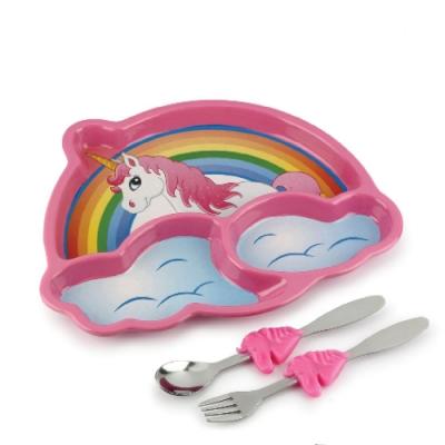 【KIDSFUNWARES】造型兒童餐盤組(彩虹小馬)