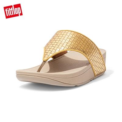 FitFlop OLIVE METALLIC RAFFIA TOE-POST SANDALS 金屬光格紋夾腳涼鞋-女(金鉑色)
