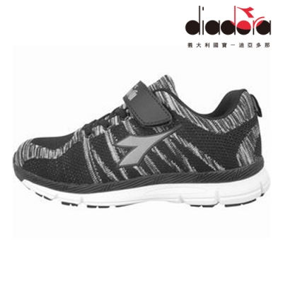 Diadora 兒童編織輕跑鞋 大童 加寬楦 黑 DA8AKR6380