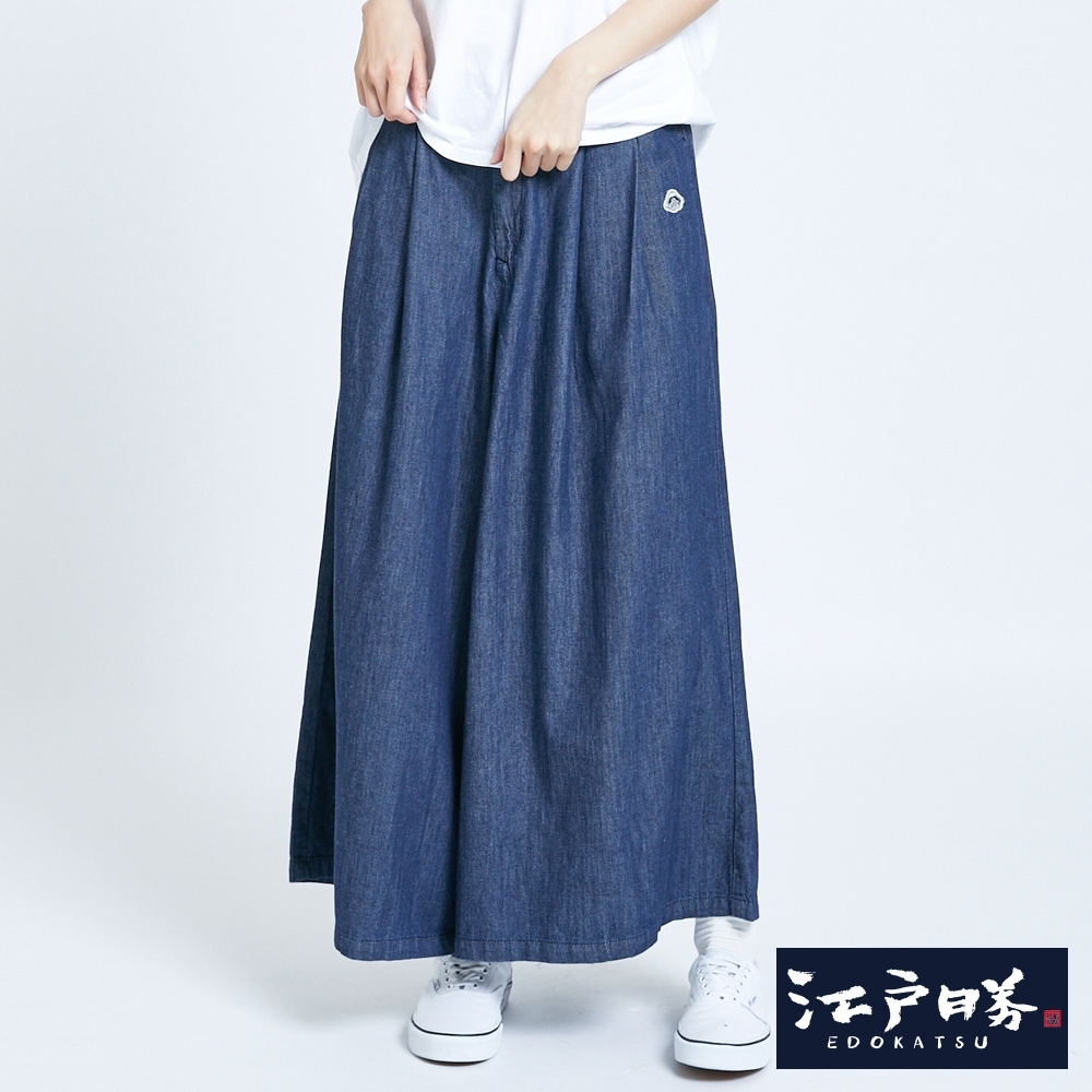 EDO KATSU江戶勝 飄逸牛仔褲裙-女-水洗藍