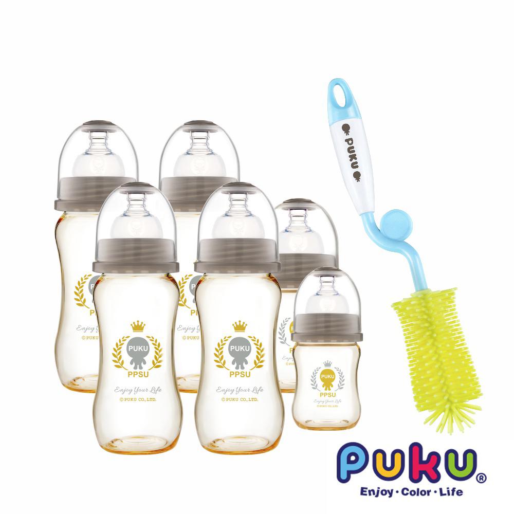 【PUKU】PPSU奶瓶6入套組 贈矽膠奶瓶刷