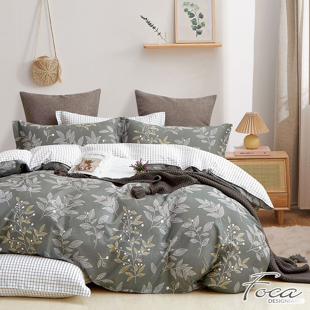 FOCA映草 加大-韓風設計100%精梳純棉三件式薄枕套床包組