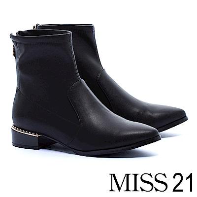 短靴 MISS 21 摩登時髦珍珠裝飾彈力皮革尖頭粗跟短靴-黑