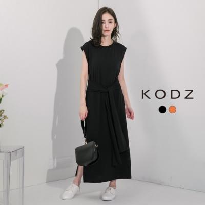 東京著衣-KODZ 復古簡約單色綁帶設計側開岔洋裝-S.M.L(共二色)