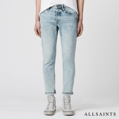 ALLSAINTS DEAN修身刷白棉質直筒中腰牛仔褲-藍