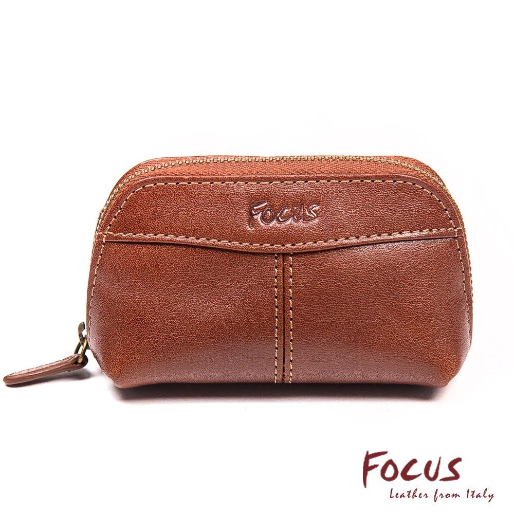 FOCUS經典原皮弧形鑰匙零錢包(FTA0076)