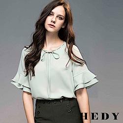 Hedy赫蒂  造型綁帶荷葉袖雪紡上衣(共兩色)