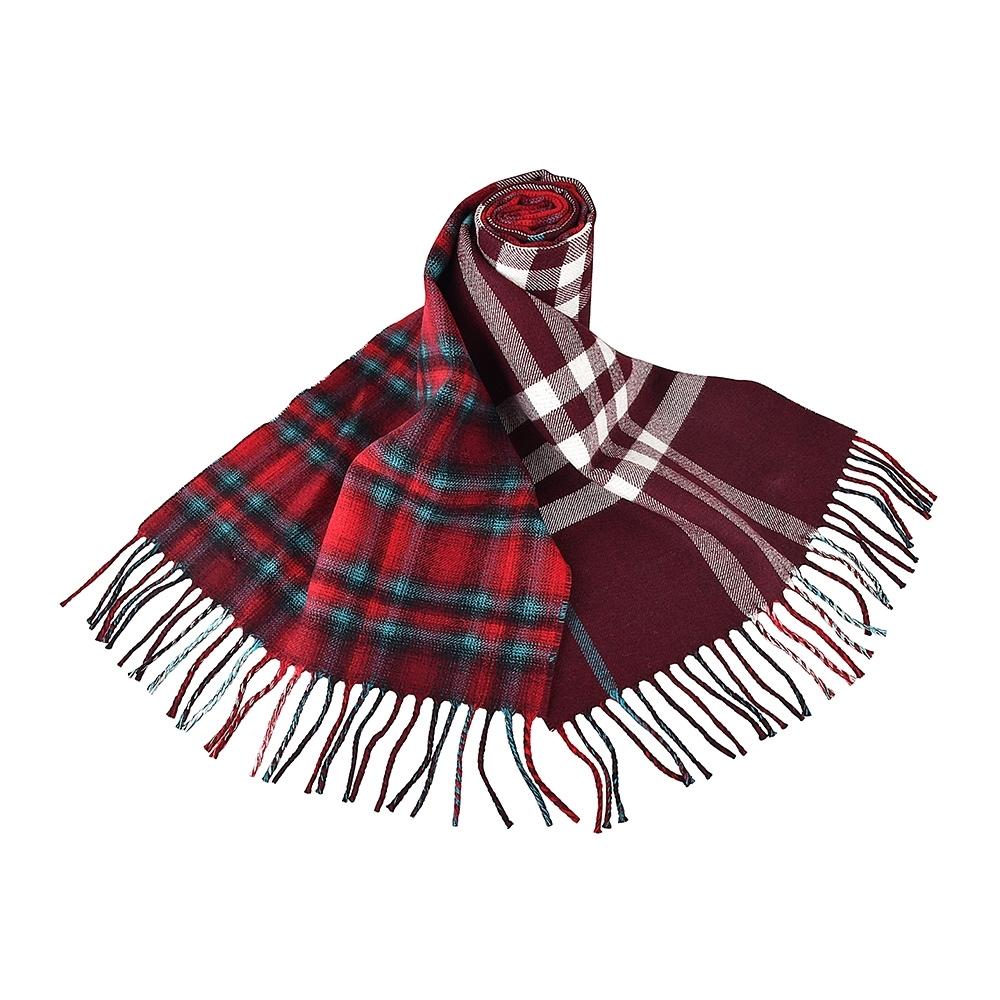 BURBERRY英倫風拼接格紋設計羊毛圍巾(深紅x紅白格紋)