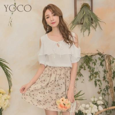 東京著衣-YOCO 清甜浪漫荷葉綁結造型挖肩縮腰洋裝-S.M.L