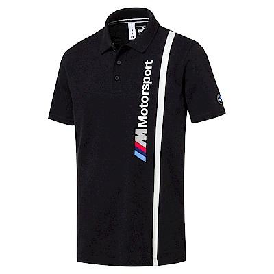 PUMA-男性BMW系列直條短袖POLO衫-煙煤黑-歐規
