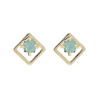 LOVERS TEMPO加拿大品牌 DIA STUD施華洛世奇藍綠水晶菱框耳環
