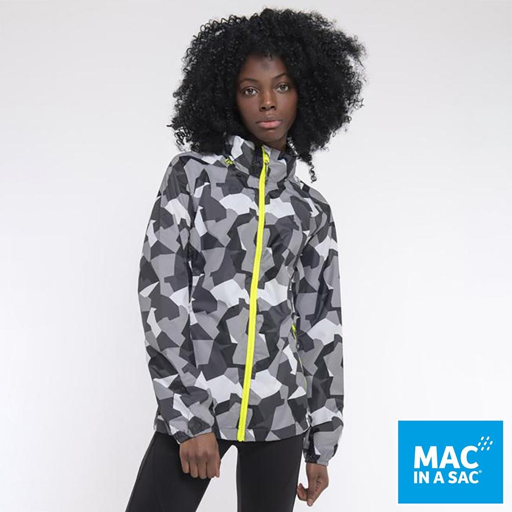 【MAC IN A SAC】男女款輕巧袋著走炫彩防水透氣外套MNS117迷彩灰白