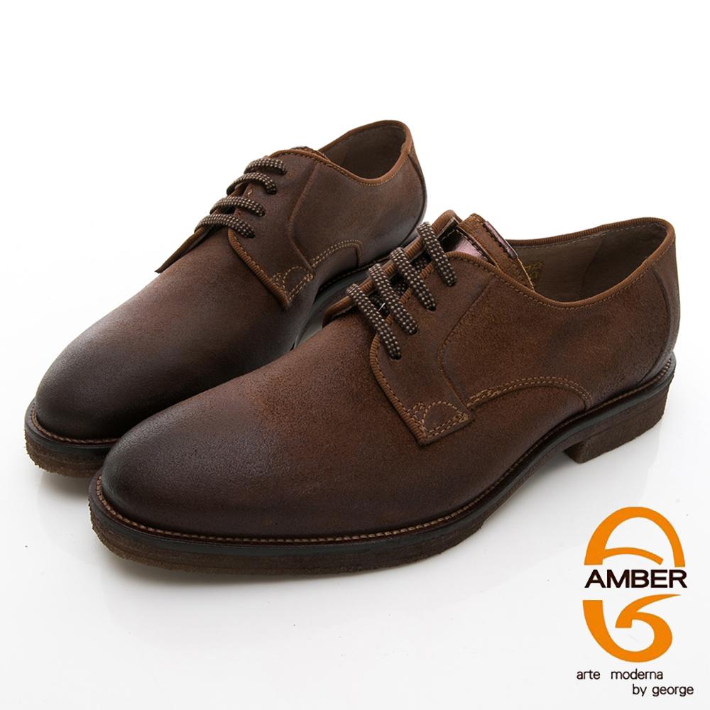 【AMBER】休閒時尚 葡萄牙進口綁帶粗曠真皮紳士皮鞋-咖啡色