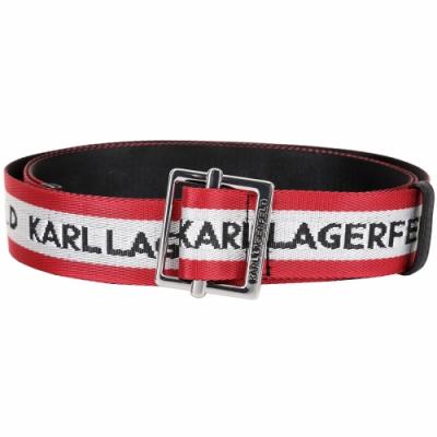 KARL LAGERFELD Logomania Logo 字母織布腰帶(紅白)
