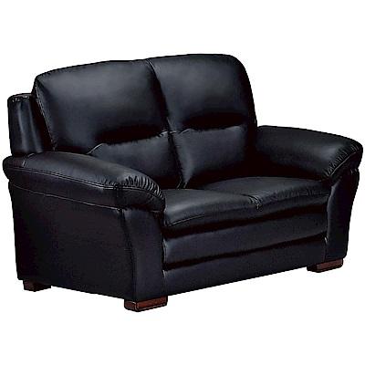 文創集 牛津現代黑半牛皮革獨立筒二人座沙發椅-161x90x100cm免組