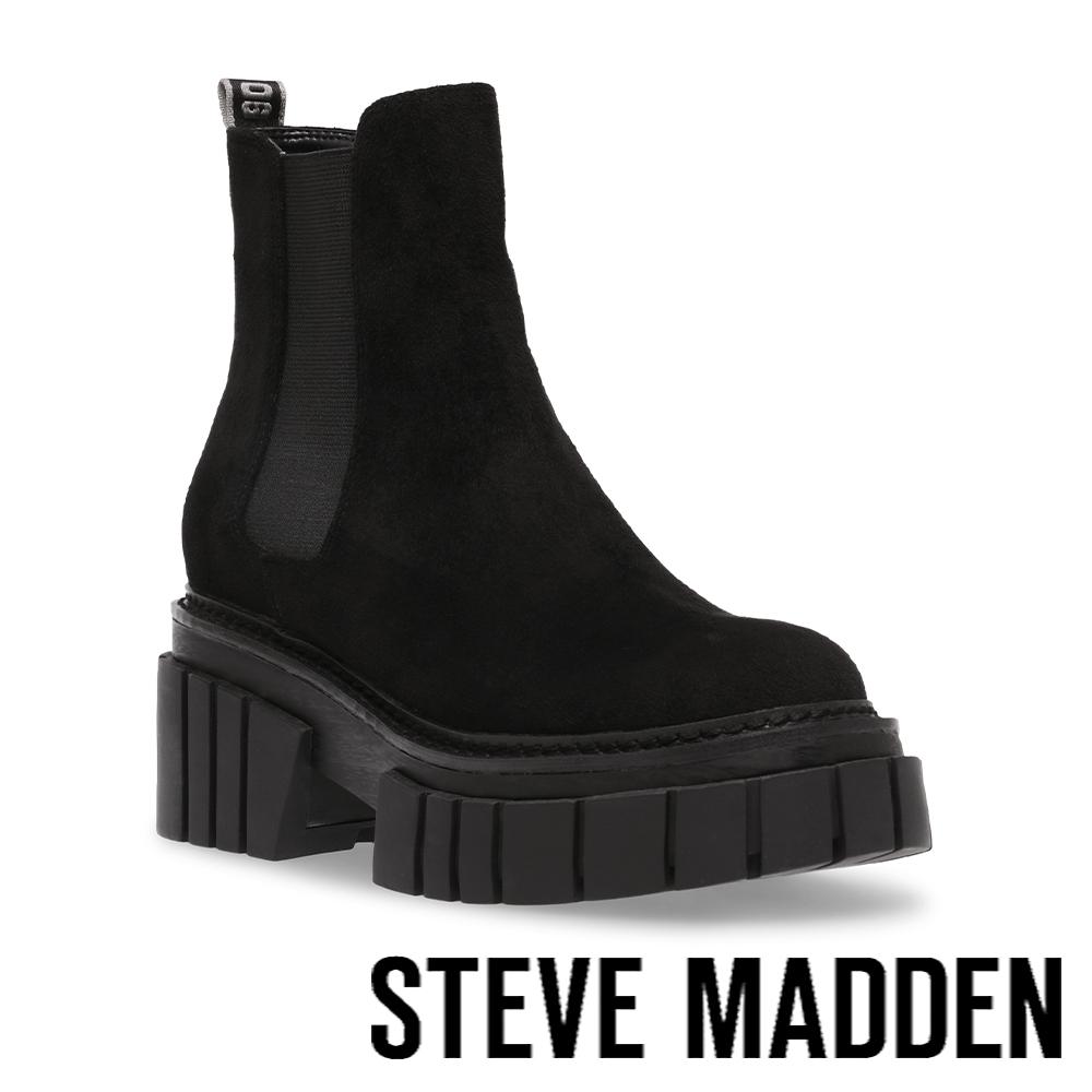 STEVE MADDEN-HAILSTORM 素面厚底中筒靴-絨黑色