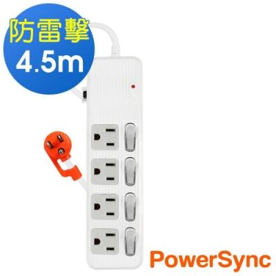 PowerSync 群加 3孔4開4插 防雷擊抗搖擺延長線4.5米TPS344AN9045