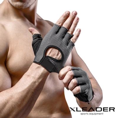 Leader X 專業健身 耐磨防滑運動手套 騎行半指手套 男女適用 黑色-急