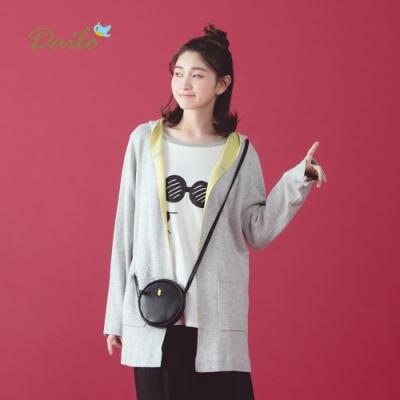 新降 【Dailo】雙色長版外套-針織衫(二色)