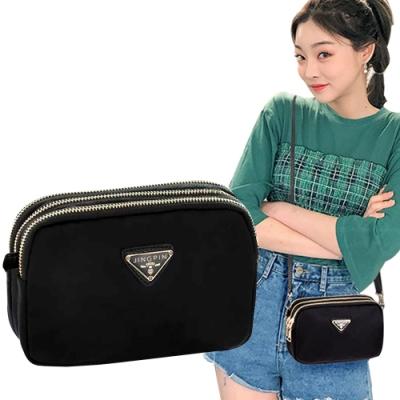 幸福揚邑 潮流時尚簡約三層拉鍊兩用手拿手提肩背斜背小包手機包相機包-橫包