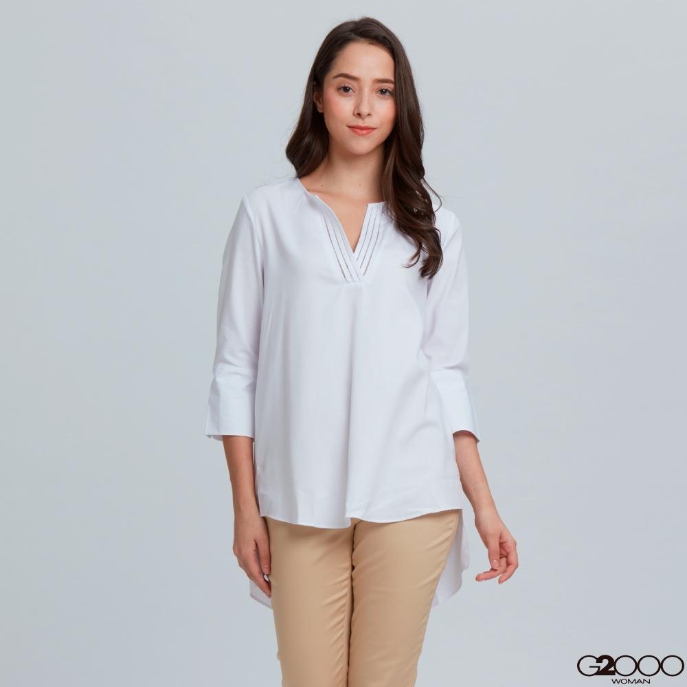 G2000素面短袖休閒上衣-白色