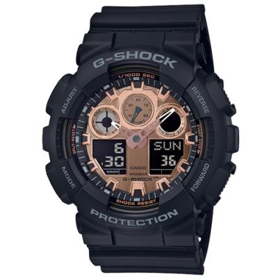 CASIO 卡西歐G-SHOCK霧面黑雙顯腕錶-黑金GA-100MMC-1A