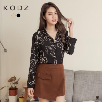 東京著衣-KODZ 時尚韓系水墨線條印花雪紡襯衫(共二色)