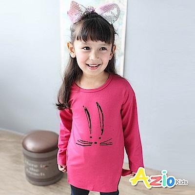 Azio Kids 上衣 可愛兔子剪影印花側邊開衩七分袖T恤(桃紅)