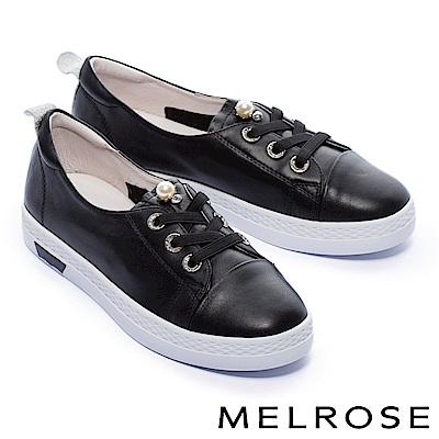 休閒鞋 MELROSE 甜美氣質珍珠綁帶厚底休閒鞋-黑