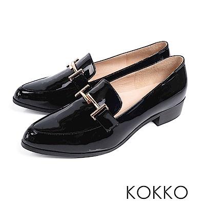 KOKKO - 薇多莉亞真皮舒壓尖頭粗跟鞋-黑夜暗訪