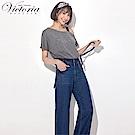 Victoria 天絲棉可拆吊帶寬褲-女-深藍